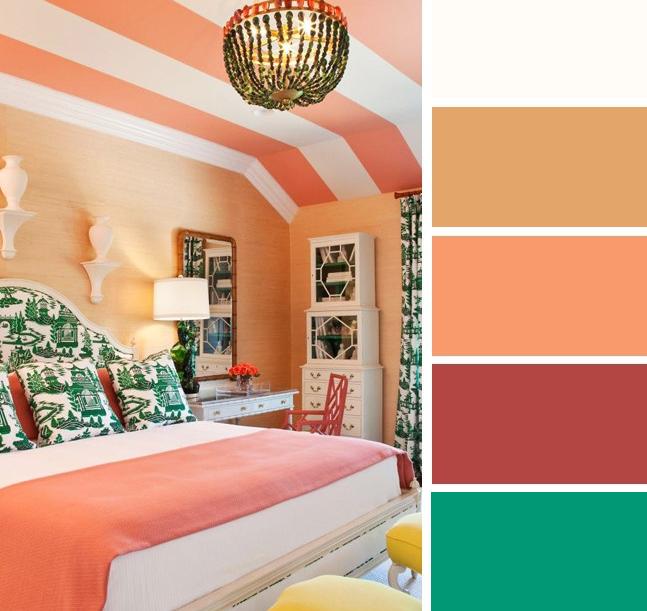 Warna bilik tidur Peach dan Hijau