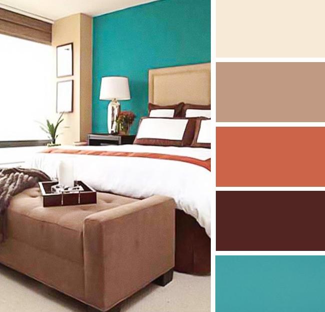Warna bilik tidur Turquoise & Coklat