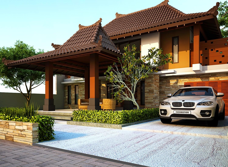 Rekabentuk rumah tradisional moden berasaskan konkrit dan kayu