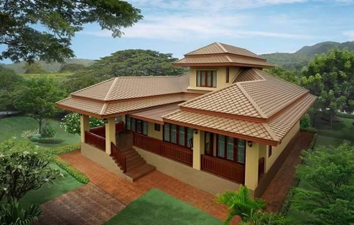 reka bentuk bumbung rumah kampung modern depan