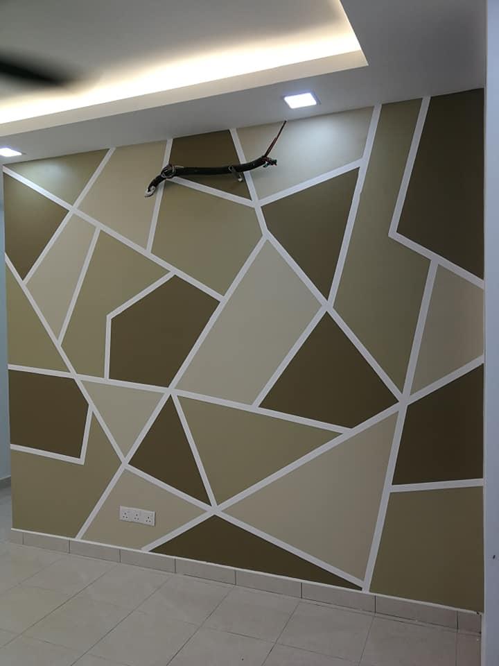 Corak Geometri Hitam Putih Pada Dinding